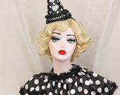 Black and White Clown Hat - Birthday Party Hat - Halloween Costume - Circus Costume - Polka Dots