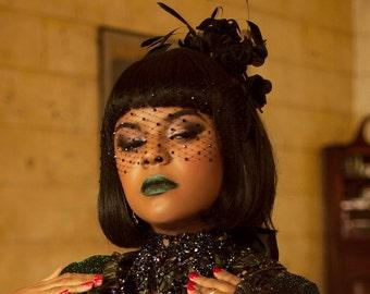 Black Blindfold Veil, Birdcage Veil, Swarovski Crystal, Crystal Veil, Black Veil, Fetish Wear, Pin Up, Goth Wedding, Hair Accessory, Glam
