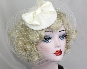 Wedding Veil, Ivory White Birdcage Veil, Women's Hat, Bow Fascinator, Hair Accessory, Bridal Veil