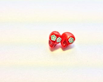 Green Flower Eyes in Red Day of The Dead Sugar Skull Beads-13mm