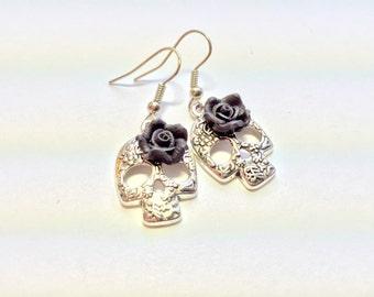 Silver Sugar Skull Black Rose Day of the Dead Earrings