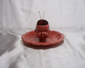 Valentines Day Red  Ceramic Doll Head  Pin Cushion