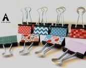 "Binder Clips - ""Turqs & Corals"" 12 medium binder clips"