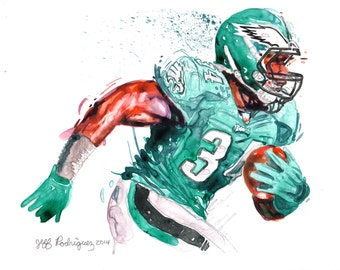 Watercolor portrait painting of Philadelphia Eagles football player Brice Brown-giclee from original