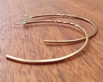 Hand crafted, Large, Hoop, Earrings, Hoops, Bronze, Sterling Silver, Light weight, Strong, Unique, Classic