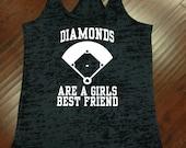 Diamonds are a Girls Best Friend Baseball Softball Tank Top Racerback Gym Running Workout Fitness Burnout Tank