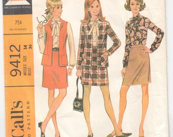 """Vintage Sewing Pattern 1960's McCall's 9412 Ladies' Blouse, Skirt and Jacket 36"""" Bust - Free Pattern Grading E-book Included"""