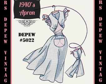 Vintage Sewing Pattern 1940's Frilled Apron in Any Size - PLUS Size Included - Depew 5022 -INSTANT DOWNLOAD-