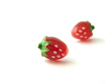 Tiny Strawberry Post Earrings Red Strawberry Earrings Stud Earrings