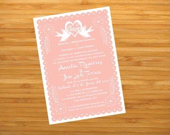 Invitation Printable Scalloped Love Birds Amor Bridal Shower Wedding Fiesta Papel Picado Inspired - I design, you print