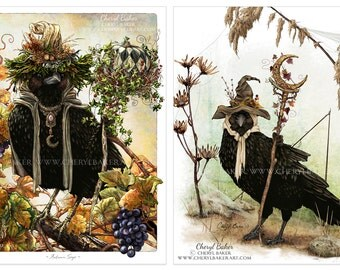 SALE - Crow Art - Set of 2 Illustrations - Crow Woodland Decor - Crow Fine Art - Crow Rustic Art - Crow Cottage Decor - Crow Rustic Decor
