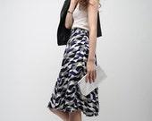 Geometric Pattern Midi Skirt, Black, White and Navy Print - M or L