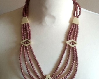 Mauve/Pink Beaded Tribal Necklace