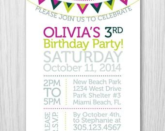 Garland Typography Modern Birthday Invitation For Any Event - Digital Printable File - Item 153C