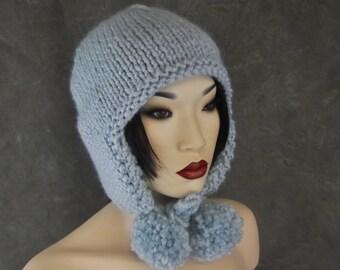 Handknit Blue  Hat,Ear flap Hat,Accessory,Women,Winter,Hats & Caps.