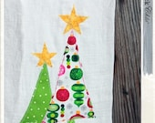 "red.neck Chic ""DRY IT."" Christmas tree dish towel / kitchen towel / hand towel / tea towel / pink and green ornaments / Christmas kitchen"