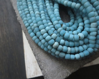Small opaque blue glass Beads organic matte turquoise seed ethnic tube barrel Modern Indo-pacific - 3 to 6 mm / 22 inches strand - 4bgl10-13