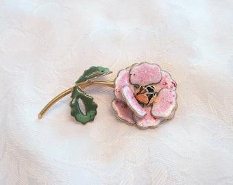 Vintage Flower Brooch Enamel Pink Rose Goldtone
