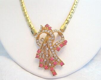 Vintage Rhinestone Necklace Crystal Rose Floral Goldtone Restored