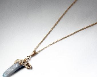 Spirit Quartz Pendant Druzy Pendant Blue Crystal Pendant Rare Stone Pendant Raw Stone Jewelry 24K Gold Dipped Edge-SPQ-P-101-033g
