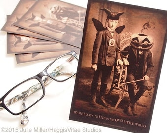 """5 POSTCARDS - """"We Are Lucky To Live In This Odd Little World"""" 4 x 6 matte finish"""