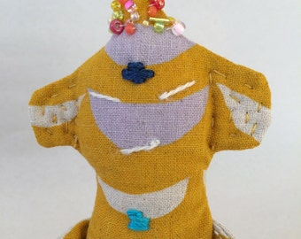 Tiny Zen Buddha Doll #48, 100% Japanese Cotton with Embroidered Chakras, OOAK, Numbered and Signed