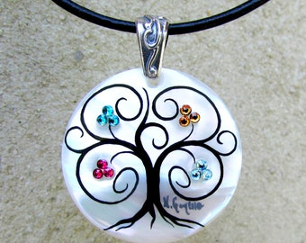 """Family Tree Necklace """"Modern"""" (5 stone/cluster maximum)"""