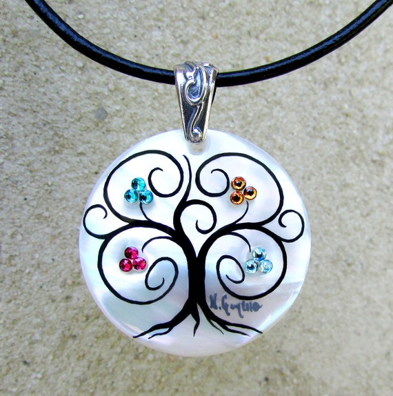 "Family Tree Necklace ""Modern"" (5 stone/cluster maximum)"