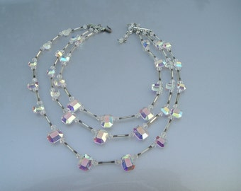 GORGEOUS Multi Strand Deco Ab Aurora Borealis Faceted Crystal Necklace