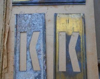 k - vintage brass stencil letter for altered art and crafting - stencil letter monogram