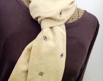 Embroidered Football Scarf /  Beige Baby Corduroy with Embroidered Brown Footballs & Helmets / OOAK Unique Gift Under 20