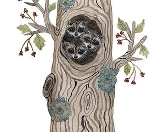 Raccoon Cubs Print, giclee art print, baby animals art, nursery art, animal illustration, kids wall art