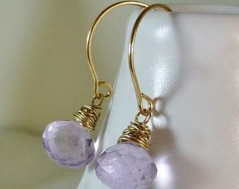 Pink amethyst drop earrings,minimalist earrings,dainty earrings,lavender gems,wedding jewelry,bridal,February birthstone,petite,gold earring