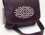 Vegan Porthole Handbag with Adjustable Strap, Dark Brown Faux Leather, READY TO SHIP