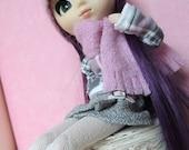 Conjunto Pullip tartán rosa y gris para  pullip, blythe, momoko, pure neemo, licca, obitsu, azone, ... muñecas 1/6