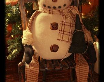 Primitive Sitting Snowman Doll