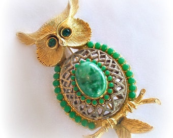 Vintage Owl Pin Brooch Faux Jade Glass Cabochon Belly Green Rhinestone Eyes Gold Silver Tone