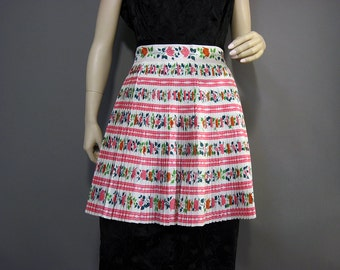 Vintage Apron 50s 60s NOS Pink Green Floral Roses Ever Pleat Bonafab