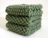Knitted Dish Cloth / Sage Green Cloth / Knit Wash Rag / Olive Green Knit Dish Rag / under 10 gift