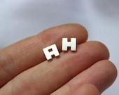 Initial earrings, letter earrings, sterling silver earrings, personalized jewelry, alphabet earring, stud earring, name earring