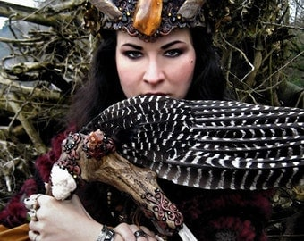 Magic High Priestess Horn Headdress Fine Art Photography Feather Smudge Fan Wiccan Pagan Oregon Greeting Card SHAMANESS by Spinning Castle