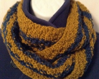 Wool Knit Cowl/Wool Knit Infinity/Blue and Gold Cowl/U of M Cowl/Unisex Wool Cowl/University of Michigan Cowl/Team Spirit  Infinity Scarf