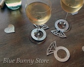 10+ Wine Charms Wine Tags Name Tags Diamond Rings Silver Glitter Wedding Shower Bridal Engagement Bachelorette Party Sent Out Next Day
