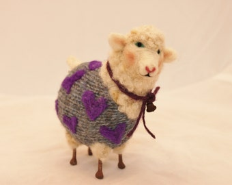 Sheep, Lammies in Blue and Purple  Valentines Jammies Needle Felted Sheep # 577