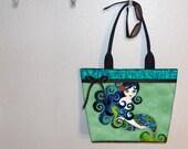 Aquamarine Mermaid tote bag, Sandra Vargas, book tote, large purse, canvas tote, shoulder bag
