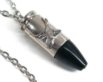 Silver and Onyx Bullet - Fly Safely Home - Ammo Jewelry - Eco-Friendly