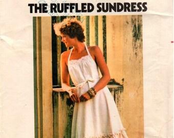 Vintage UNCUT Tie On Ruffled Sundress Butterick Pattern 4826 - Misses Dress - 16-18