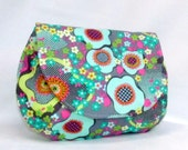 Peace Flower in Mist  Clutch Bag with magnetic snap - Makeup Bag - Amy Butler Fabrics