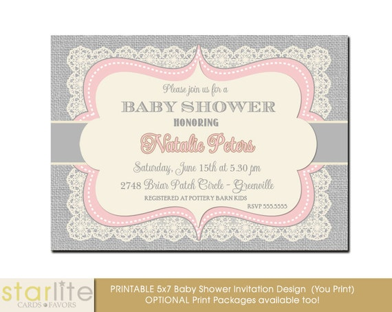 baby shower invitation girl pink gray grey vintage lace burlap baby