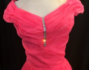50s Hot Pink Emma Domb Evening Dress 1950s